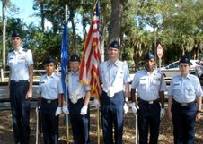 At Veterans Memorial Park in West Boca Raton the Boca Raton Composite Squadron cadets participate in ceremonies. From left are Cadet Commander 1st Lt Zackery Macdonald, C/Amn Nicholas Castillo, C/SrA Johnathan Ballou, C/AIC Taylor Broad, C/CMSgt Johann Douglas and C/Amn Joalbert Mussenden