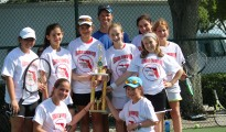DKJA Middle School Girls Tennis Team  Independent Athletic League Champions - Front Row (left to right): Molly Gross and Jessica Siegel. Middle Row (left to right):  Dana Lipson, Megan Sharp, Ashley Klein,  Sydney Levine and Haylee Friedman. Back row: (left to right)  Coach Ken Maget, Olivia Galel and Eden Leder. Not Pictured: Zoe Gruen