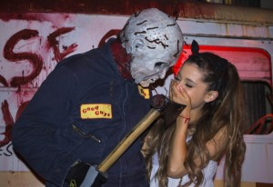 The Wanted's Nathan Sykes and Ariana Grande enjoy a scarily fun night out at Universal Studios' Halloween Horror Nights