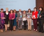 Mary Wong (center), president of the Office Depot Foundation, thanks representatives from Women's Symposium sponsors (from left) Florida Atlantic University (Gift Bag Sponsor), 3M (Exhibitor Sponsor), Daszkal Bolton (Exhibitor Sponsor), SMEAD (Exhibitor Sponsor), Coca-Cola (Breaks Sponsor) and Allstate Benefits (Exhibitor Sponsor).