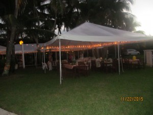 One of three tents