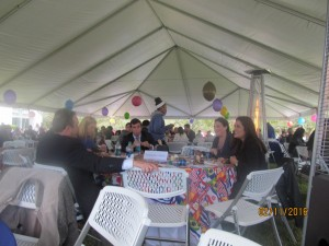 Party under a huge tent