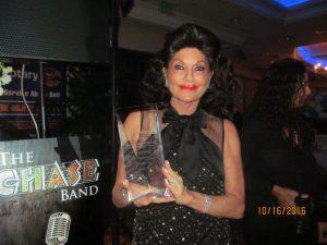 Christine Lynn receiving an award