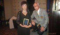 New Rotary Pres. Penny Morey and Past President Lewis Fogel