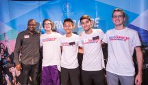 TechGarage team (in white shirts) from left to right: Jacob Zipper, Winston Cheung, Devin Willis and Carson Lyttle