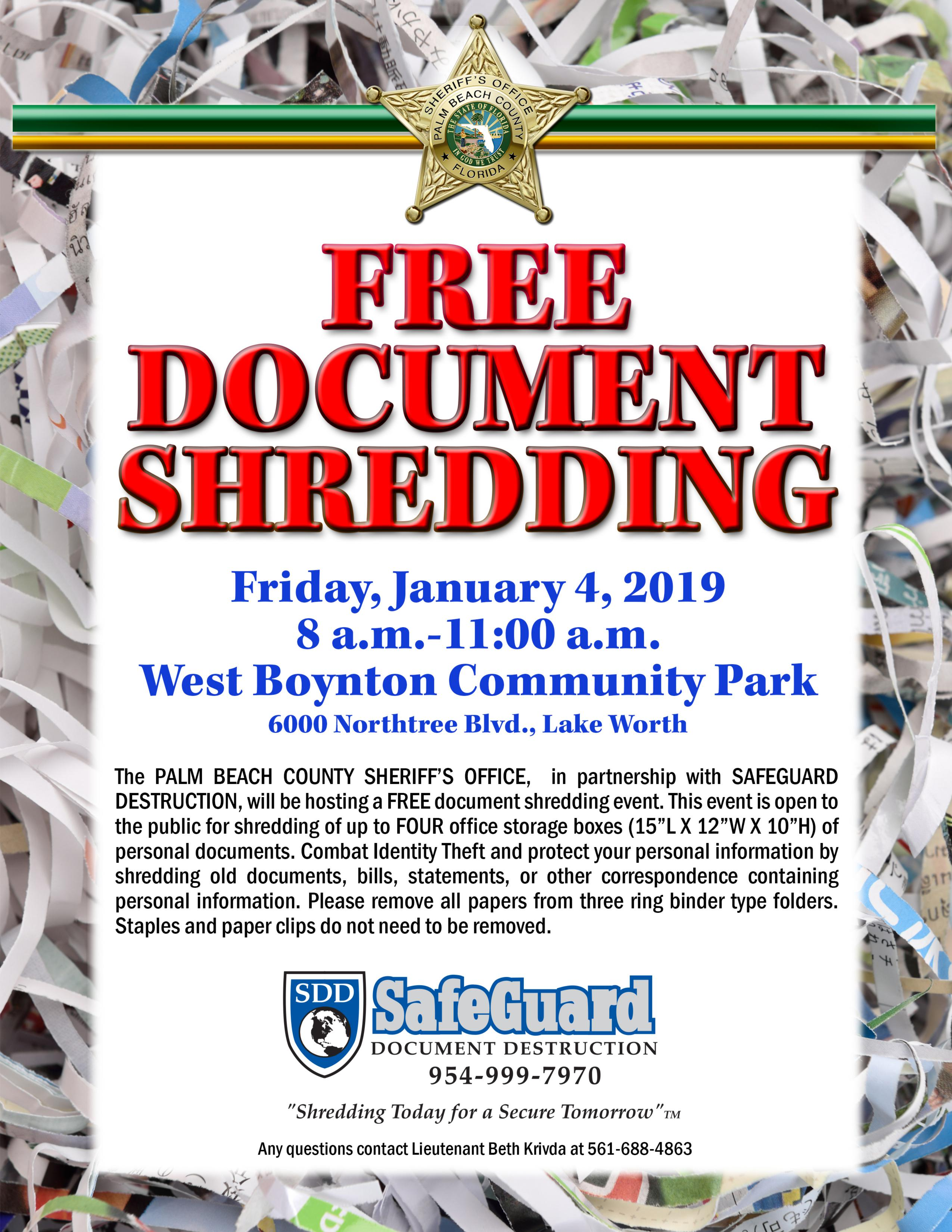 FREE DOCUMENT Shredding Event - Boca Raton's Most Reliable News
