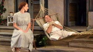 """Katie Cunningham plays a never-married artist and Tim Altmeyer a minister on the verge of a nervous breakdown in Palm Beach Dramaworks' """"The Night of the Iguana."""" (Samantha Mighdoll / Courtesy)"""